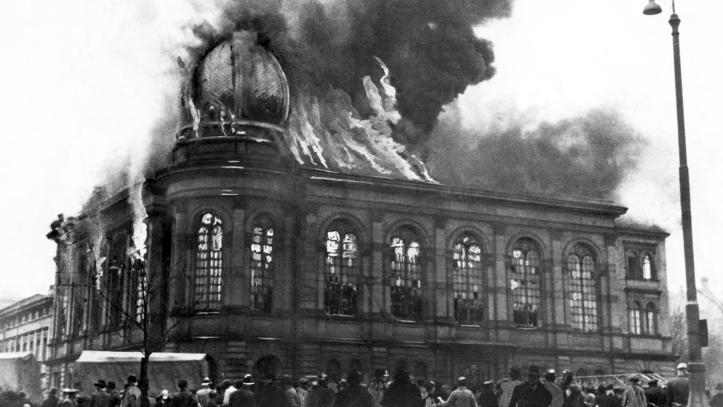 Germany: The Boerneplatz synagogue in flames during Kristallnacht or the 'Night of Broken Glass', Frankfurt, November 10, 1938